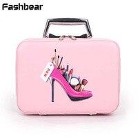 2018 New Korean Cosmetic Bag Women Travel Box Big Cute Makeup Bag High Heeled Shoes Double