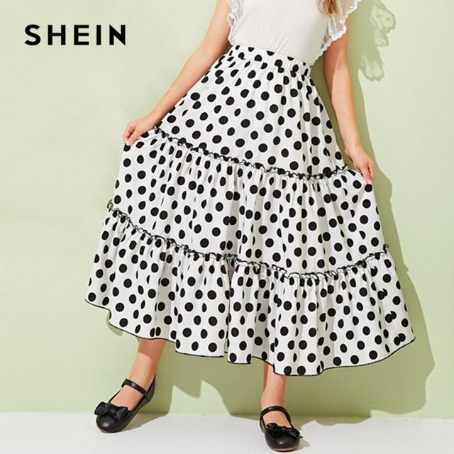 Шеин Kiddie обувь для девочек в горошек Многоуровневое Слои оборкой отделкой юбка в стиле бохо дети нижней 2019 летний праздник рюшами линии расклешенные