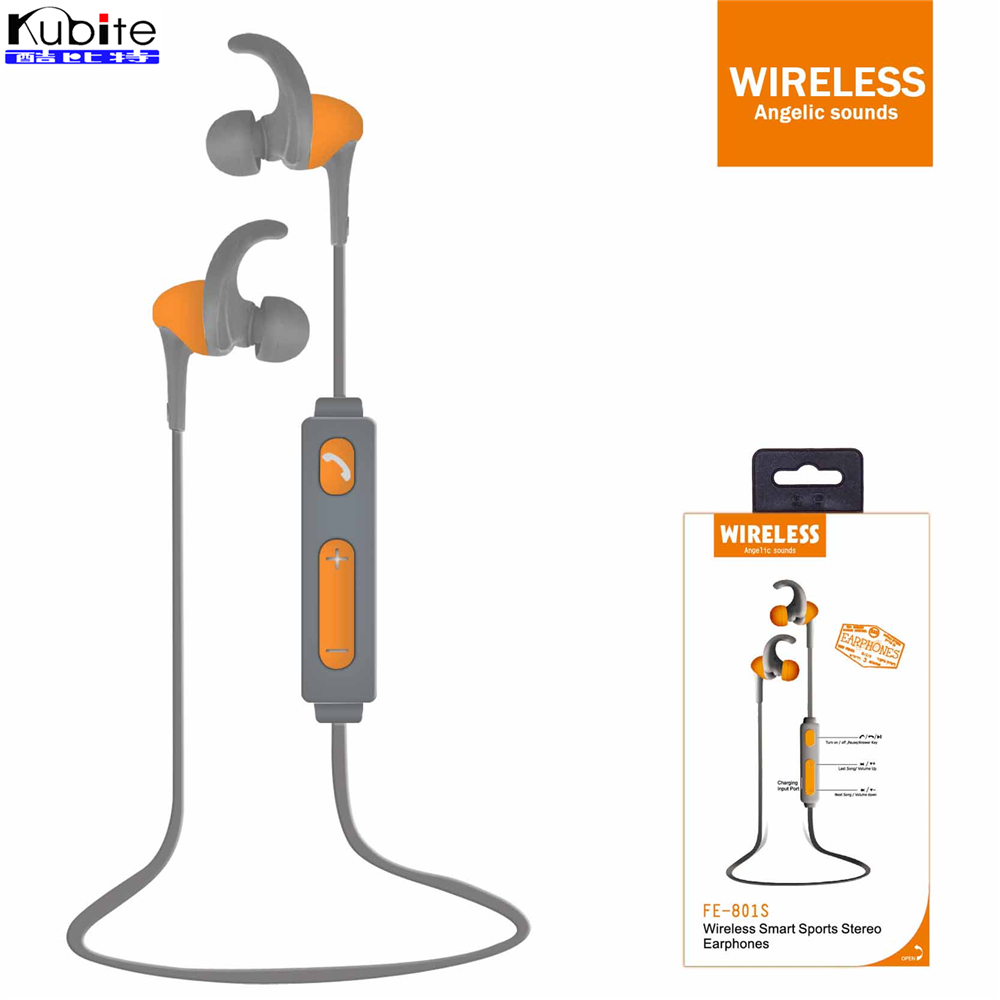Kubite FE-801s Headphones Bluetooth 4.2 Wireless Sports Music In-ear Earphone For Android Ios Xiaomi HUAWEI Iphone Samsung