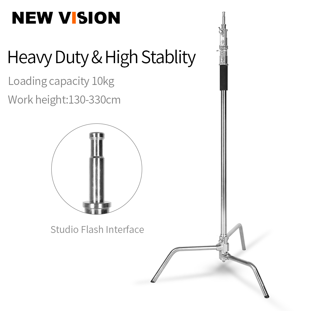 Stainless Steel Heavy Duty C-Stand, 5-10 Feet 1.5-3 Meters Adjustable Photographic Sturdy Tripod For Softboxes,Flash,Boom Arm