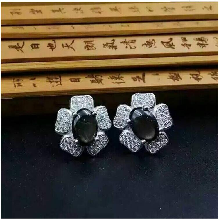 Natural sapphire jewelry set Natural real sapphire 925 sterling silver 1pc pendant,1pc ring 6*8mm dhl ems 1pc 1 1p 20 psen1 1 20 8mm