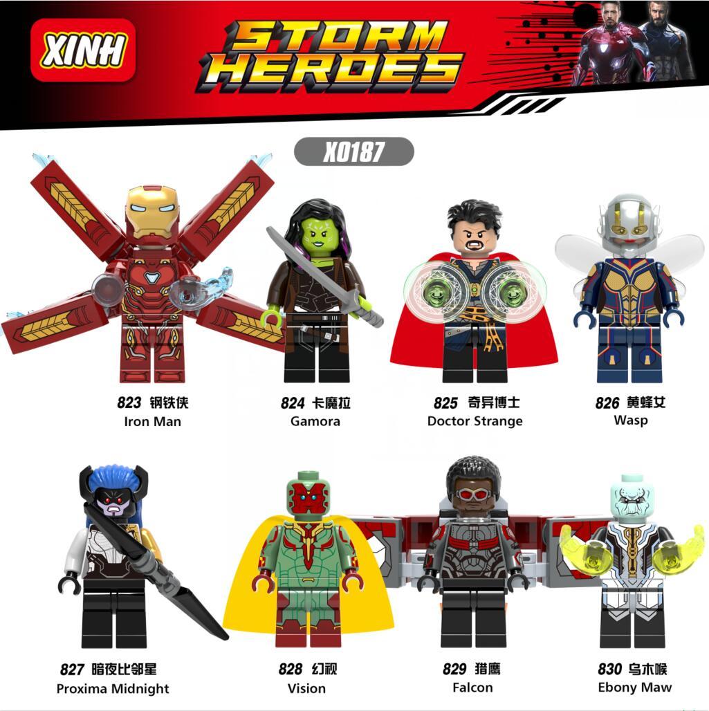8pcs/lot X0187 Super Hero Infinity War Figure Iron Man Avengers Doctor Stranger Falcon Proxima Night Building Blocks Toys
