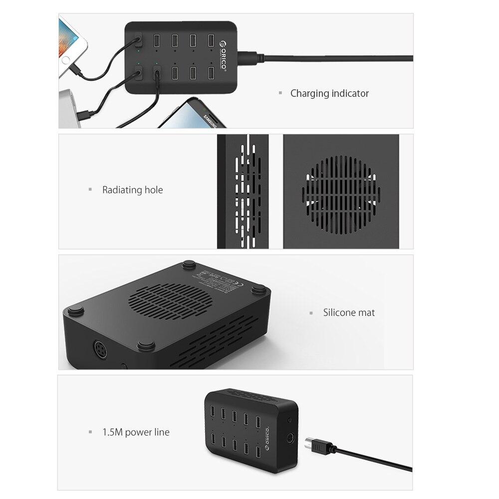 ORICO 10 Limanları USB Smart doldurma stansiyası 5V2.4A 120W AB - Cib telefonu aksesuarları və hissələri - Fotoqrafiya 3