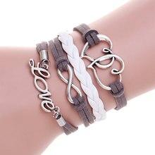 Couro multicamadas pulseira coração charm bracelet pulseras hombre femme pulseira masculina pulseiras de ancoragem para as mulheres homens jóias