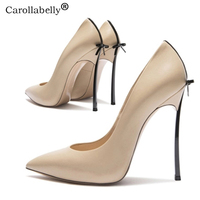 2018 Autumn High Quality Sexy Women Pumps Pointed Toe shoes Bowtie Thin High Heels Wedding Shoes Pumps Party Shoes