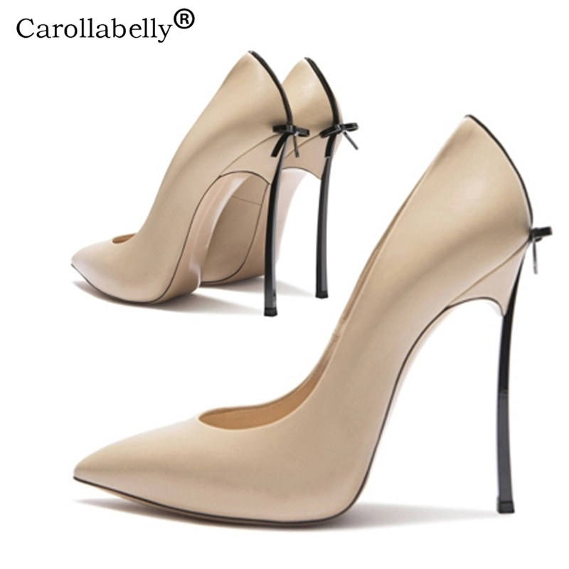 2019 Autumn High Quality  Sexy Women Pumps Pointed Toe Shoes Bowtie Thin High Heels Wedding Shoes Pumps Party Shoes