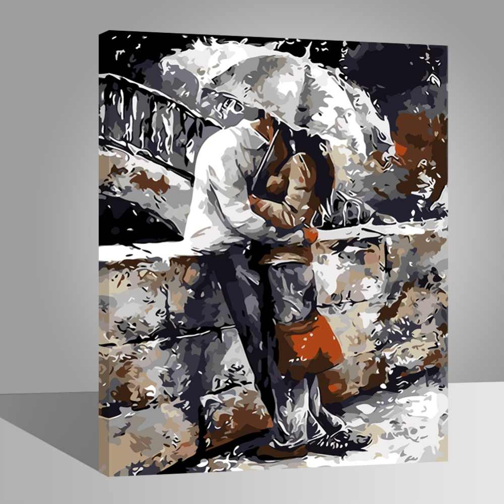 WEEN Lover couple-Paint by Number Kits for Adults,DIY Painting by Numbers on Canvas , Home Decor, Acrylic Paint 16x20inch