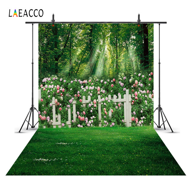 Laeacco Spring Flowers Garden Landscape Wedding Princess Photography Backgrounds Photographic Backdrops Custom For Photo Studio