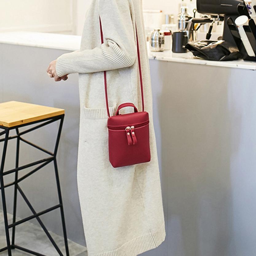 Модные женские Искусственная кожа двусторонняя молния сумка женская сплошной цвет Квадратная мини Сумочка # f