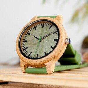 Image 3 - BOBO BIRD 대나무 나무 시계 남자 석영 시계 녹색 실리콘 스트랩 여분의 밴드 남자 선물 상자 relogio masculino W B06