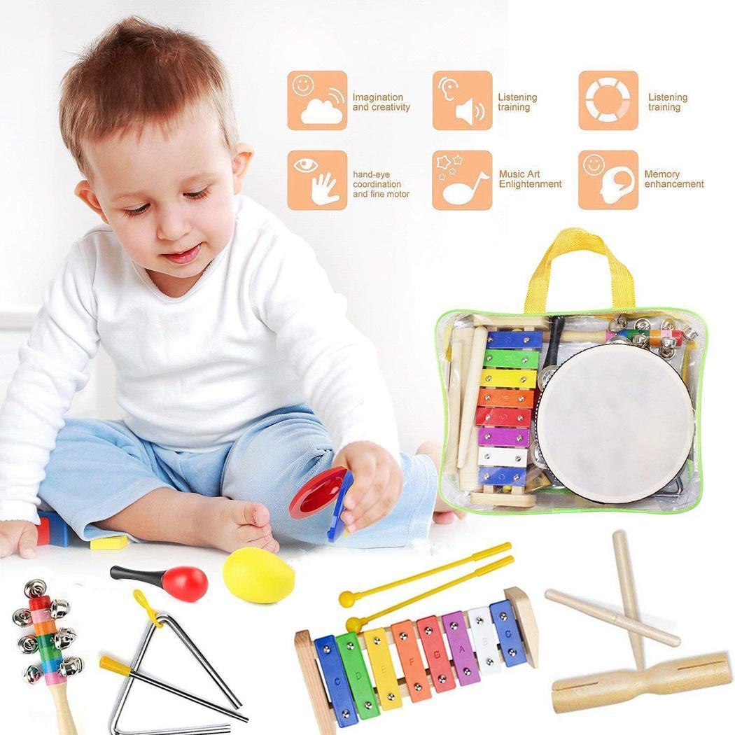 22 pièces bambin Instruments de musique ensemble Percussion Instrument jouets bambin jouets musicaux ensemble rythme bande ensemble cadeau d'anniversaire pour enfant