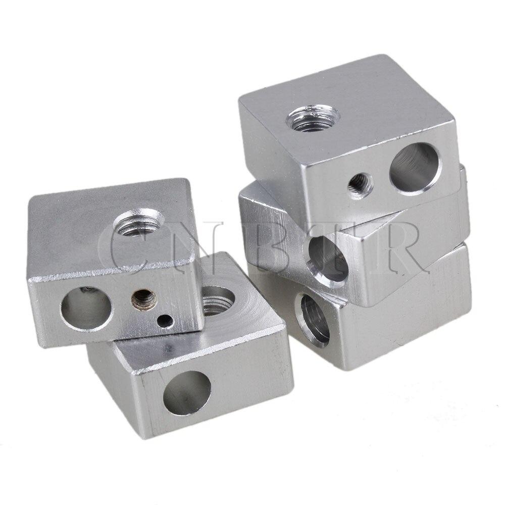 CNBTR 5pcs 3D Printer Silver Hot End Heater Block Aluminium Alloy with M6 M3 Thread внешний блок hyundai h ari19 09h out