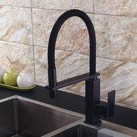 Смесители для кухни черный бронзовый кухонный кран раковина кран Палуба крепление тянуть вниз распылитель сопла Torneira De Cozinha смеситель воды