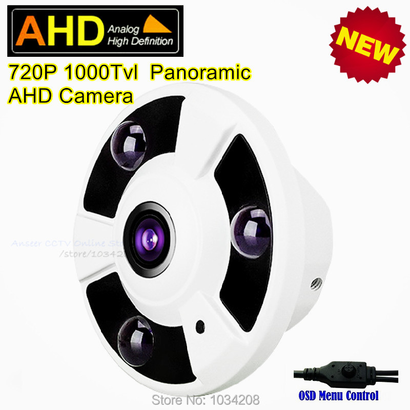 360 Degree View CCTV Indoor Home Security Analog HD Surveillance Panoramic Camera 1.0MP 720P Fisheye Infrared Dome AHD Camera 720p ahd coaxial 360degree fisheye panoramic hd surveillance camera cctv camera module security indoor ir cut dual filter switch