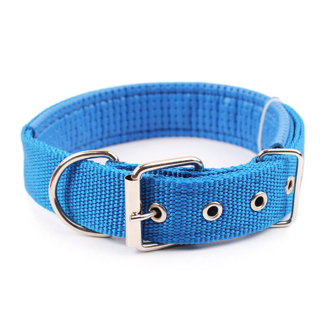 4.0*60cm Length  Comfortable Adjustable Nylon Strap Dog Collar For Small And Big Pet Dogs Collars 4 Color Red/Bule/Black/Green 3