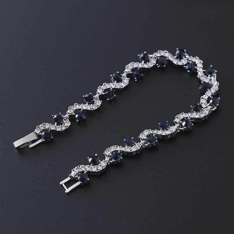الفاخرة الأزرق كريستال سوار لل زفاف الفضة سوار حجر الراين حلية النساء أساور مجوهرات Pulseira الأنثوية BR520