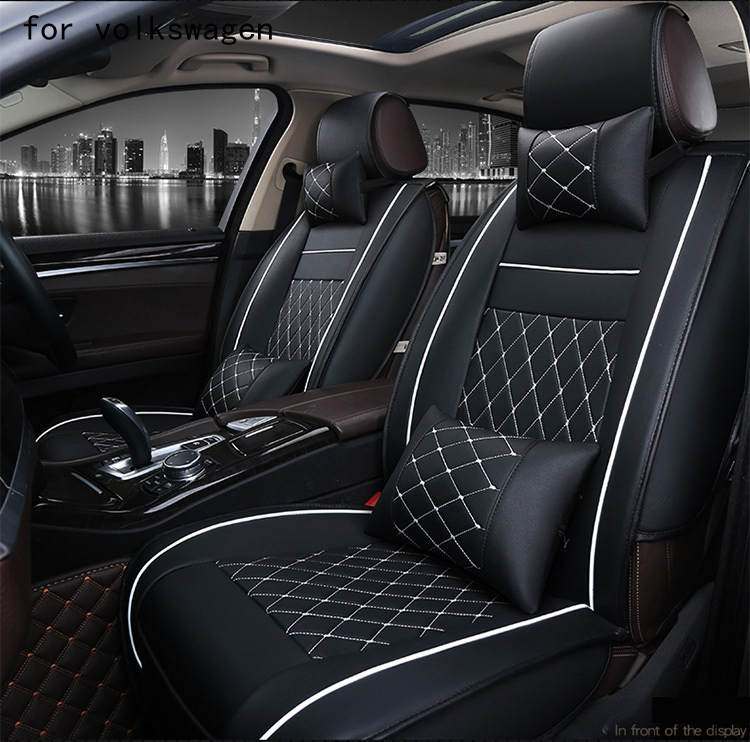 OUZHI easy clean firm grid pu leather car seat cover for vw polo passat b5 b6 volkswagen polo front rear universal seat covers vehicle car accessories auto car seat cover back protector for children kick mat mud clean bk
