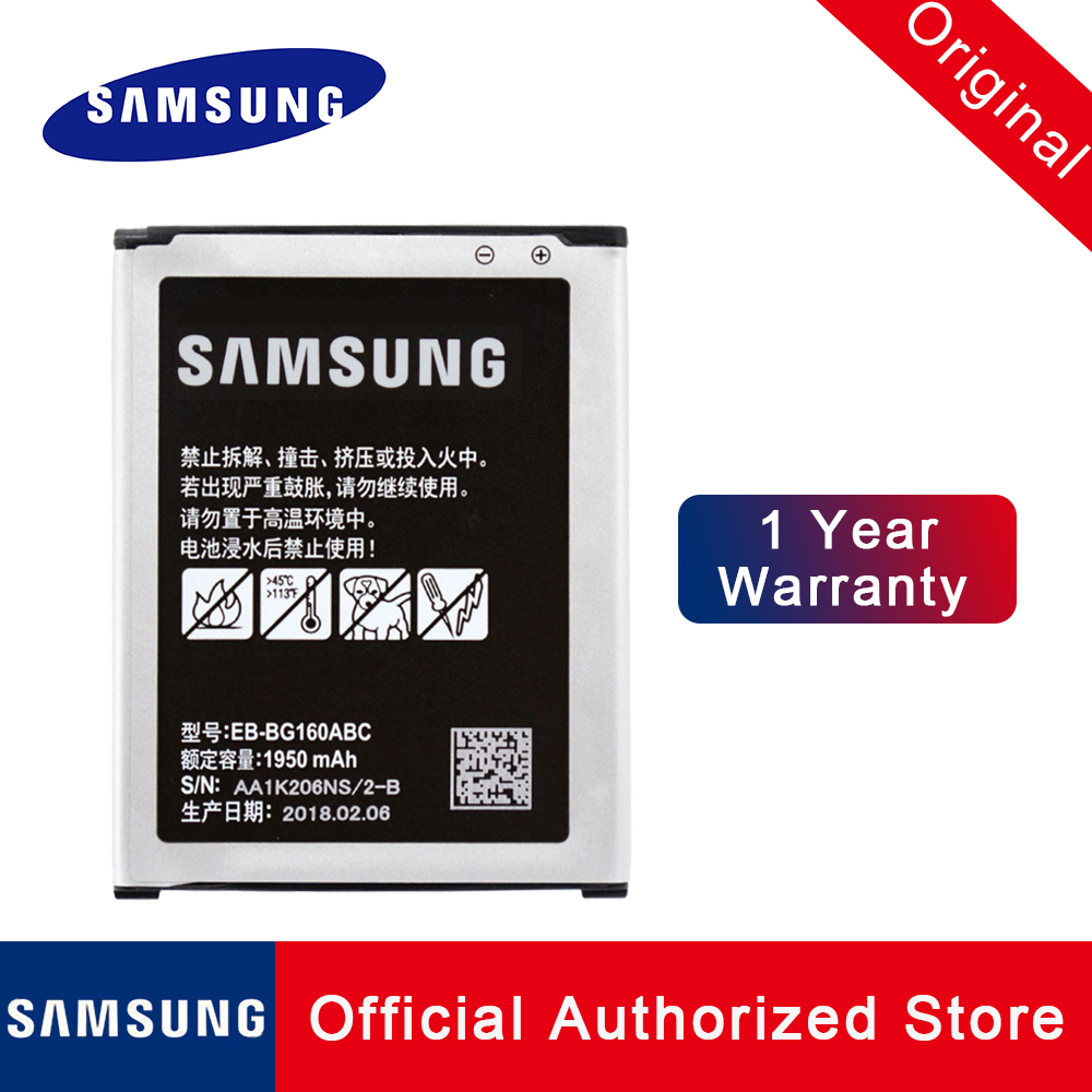 100 Original New Replacement Battery EB BG160ABC For Samsung Galaxy Folder Phone Rechargeable Li ion batteria akku 1950mAh in Mobile Phone Batteries from Cellphones Telecommunications