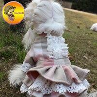 Hand Made mùa đông Con Chó Ăn Mặc Dresses Thỏ trang phục Thú Cưng Váy Váy Maltese Yorkshire Quần Áo May Mặc Chó Cá Nhân Hóa Thiết K