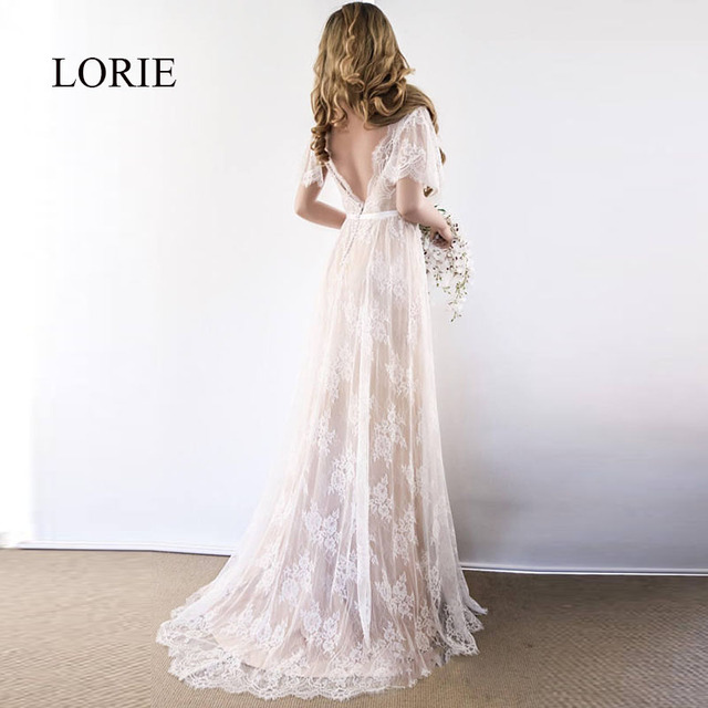 LORIE Boho Wedding Dress 2019 V Neck Cap Sleeve Lace Beach Wedding Gown Cheap Backless Custom Made A-Line Bride Dresses