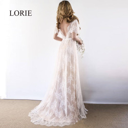 LORIE Boho Wedding Dress 2019 V Neck Cap Sleeve Lace Beach Wedding Gown Cheap Backless Custom Made Free Shipping Bride Dresses 1