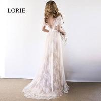 LORIE Boho Wedding Dress 2019 V Neck Cap Sleeve Lace Beach Wedding Gown Cheap Backless Custom Made A Line Bride Dresses