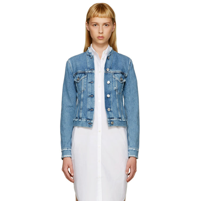 07bb9385d9a Women Vintage Ripped Stand Short Denim Jackets Top ind fray Jacket-in Basic  Jackets from Women s Clothing   Accessories