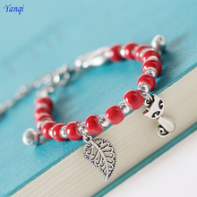 2019 Originality Women Lucky Bracelets Red Ceramic Beads Bracelet Cat Pendant Hand-Woven Lovers Jewelry Gift Free Shipping