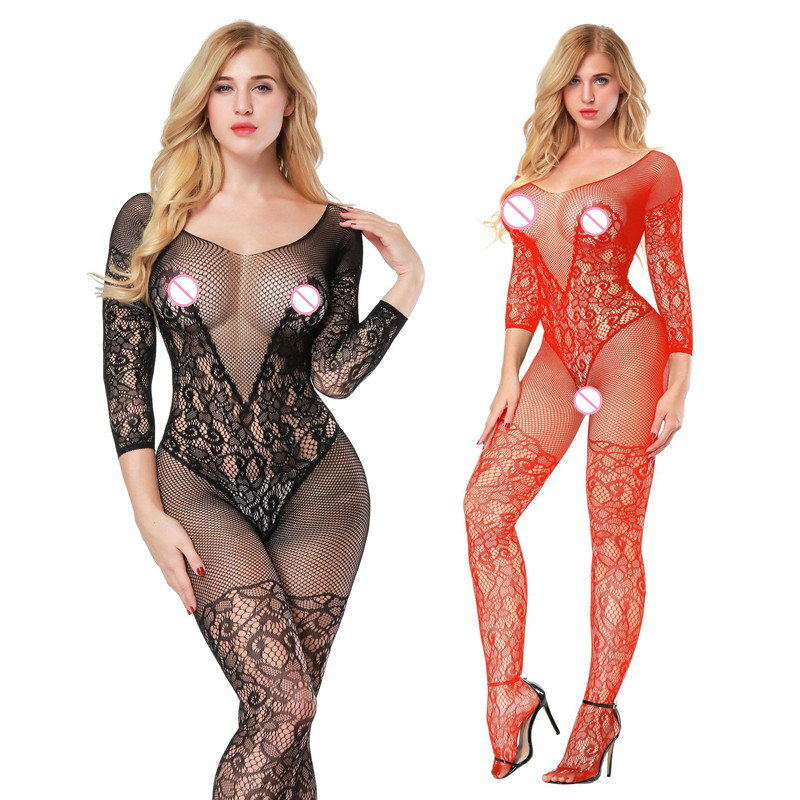 women Hot slips Lingerie ntimates sexy full slips Bodystockings Tube Siamese hollow mesh clothing Open Crotch slip Bodysuit