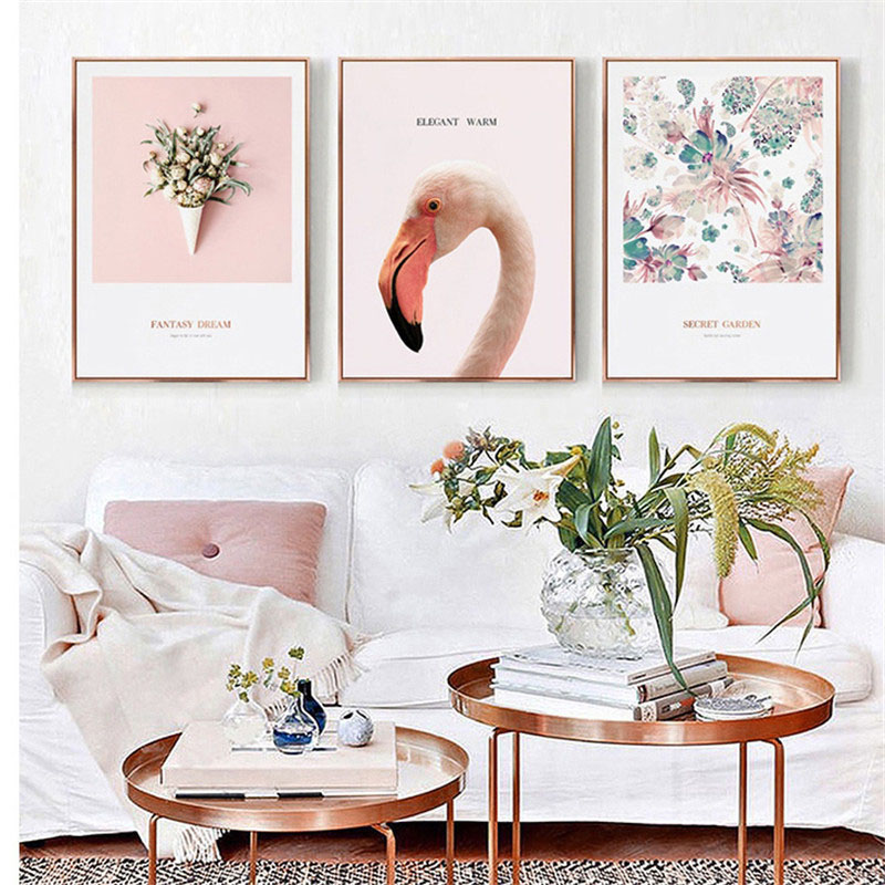 HAOCHU Nordic Modern Small Fresh Decorative Painting Pink Flower Flamingos Creative Living Room Bedroom Canvas Art Print Poster