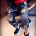 Джилли Детей Сломанные Отверстие Брюки Брюки 2016 Детские Мальчики Девочки Джинсы Модного бренда Осень 2-7Yrs Дети Брюки Детская Одежда