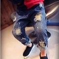 Jilly Niños Rotos Agujero Pantalones Pantalones 2016 Muchachas de Los Bebés Pantalones Vaqueros de Marca de Moda de Otoño 2-7Yrs Niños Pantalones Ropa de Niños