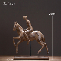 Nordic style beautiful French countryside imitation wooden base figure horse riding knight furnishing resin home decoration