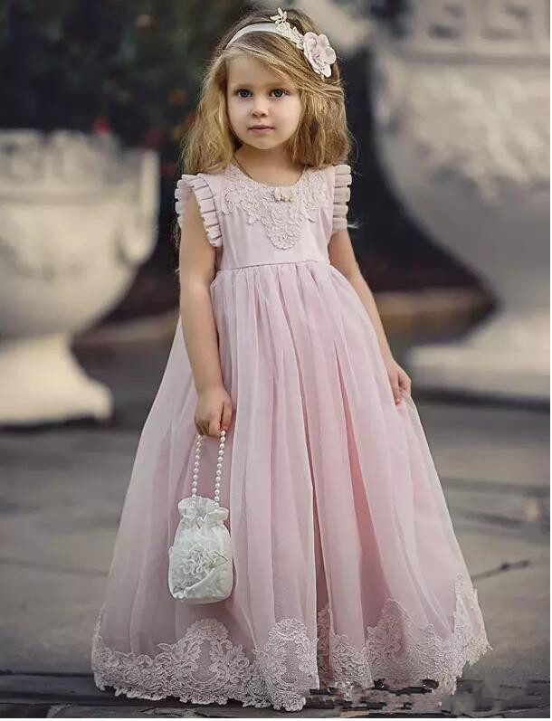 Pink Baby Girls Birthday Dress Lace A Line O Neck Flower Girls Dresses for Wedding Party Size 2 4 6 8 10 12Pink Baby Girls Birthday Dress Lace A Line O Neck Flower Girls Dresses for Wedding Party Size 2 4 6 8 10 12
