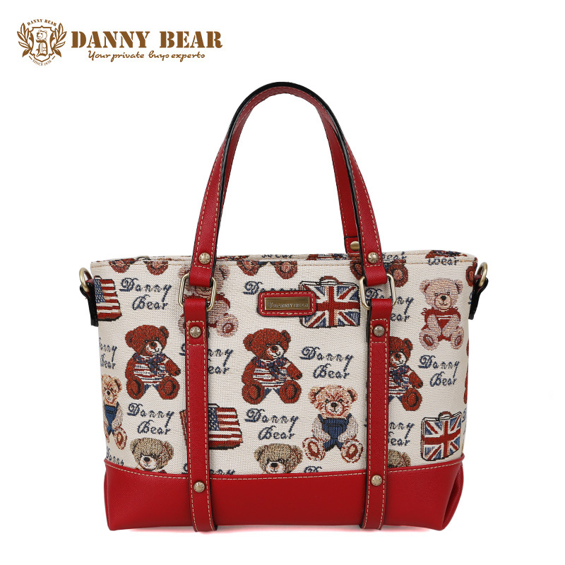 DANNY BEAR Women Fashion Travel Handbag White Tote Bag For High School Girls Female Vintage Shoulder Bags Casual Large Handbags aosbos fashion portable insulated canvas lunch bag thermal food picnic lunch bags for women kids men cooler lunch box bag tote