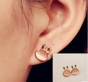 ED   0318   Korean version of the European and American fashion retro cute bunny opal earrings  Free shipping