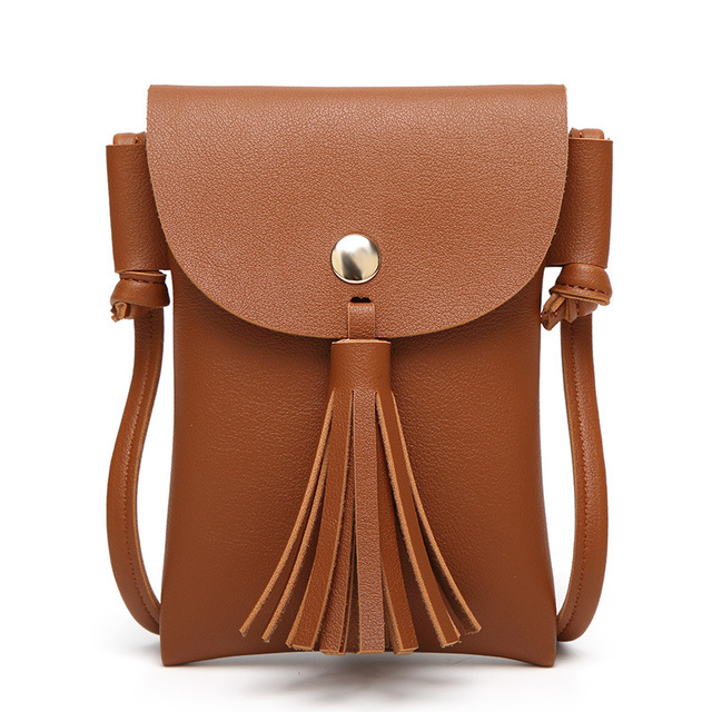 92d39bd23f57 Hot Sale Tassel Women Cellphone Bag Leather Handbags Cross Body Shoulder  Bags Fashion Messenger Bag Women Handbag
