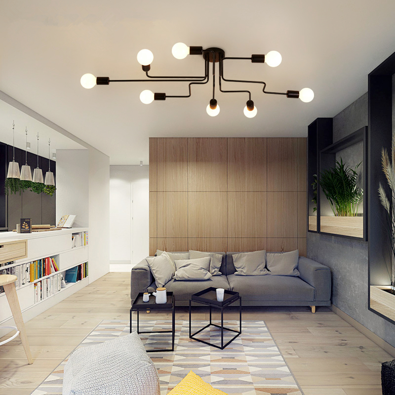 creative ceiling lamps Iron lamp Nordic simple hall ceiling lights bedroom lights living room Ceiling lighting american simple glass ceiling lights creative living room bedroom senior hotel lobby lighting 3 4 6 9 heads ceiling lamps za