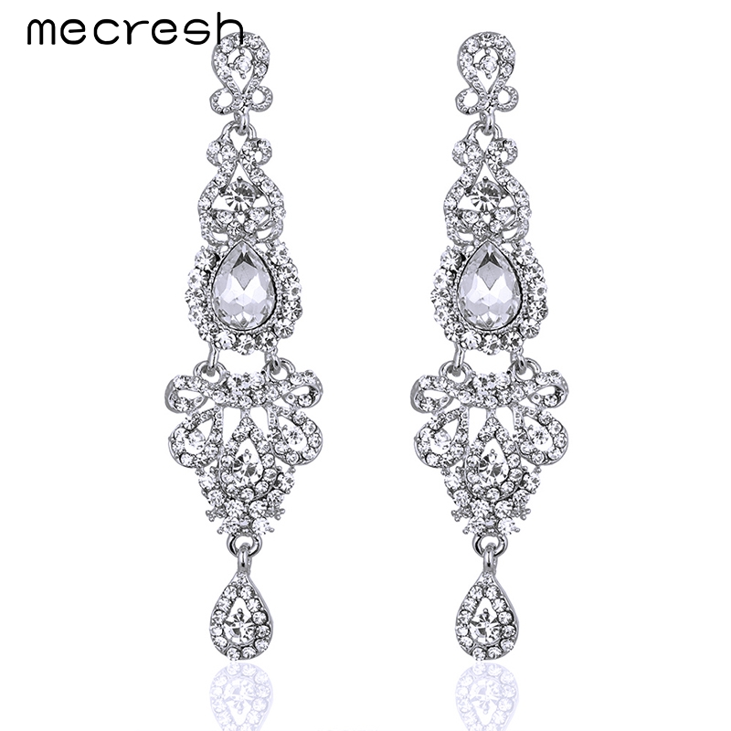 Mecresh 5 Colors Long Earrings Crystal Silver Color Women Bridal Chandelier Pendante Wedding Earrings Engagement Jewelry EH162