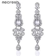 Mecresh 5 Colors Long Earrings Crystal Silver Color Women Bridal Chandelier Pendante Wedding Earrings Engagement Jewelry EH162