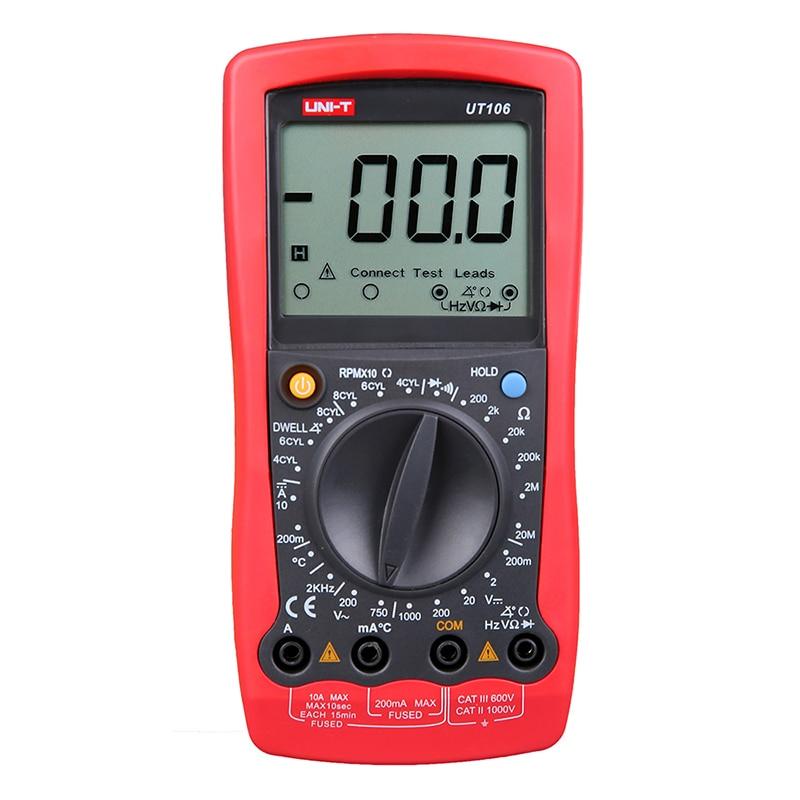 UNI-T UT106 Digital Automotive Multimeter Handheld Automotive Multi-Purpose Meters Ammeter Ohm Volt Hz Digital Universal Meter  цены
