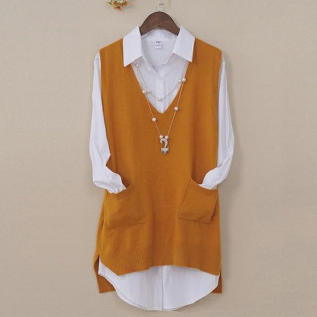 Phụ nữ Cashmere Dệt Kim Vest Nữ V Cổ Áo Ghi Lê Side Chia Áo Thun Với Túi Tops Phụ Nữ Loose Không Tay Áo Len Vest