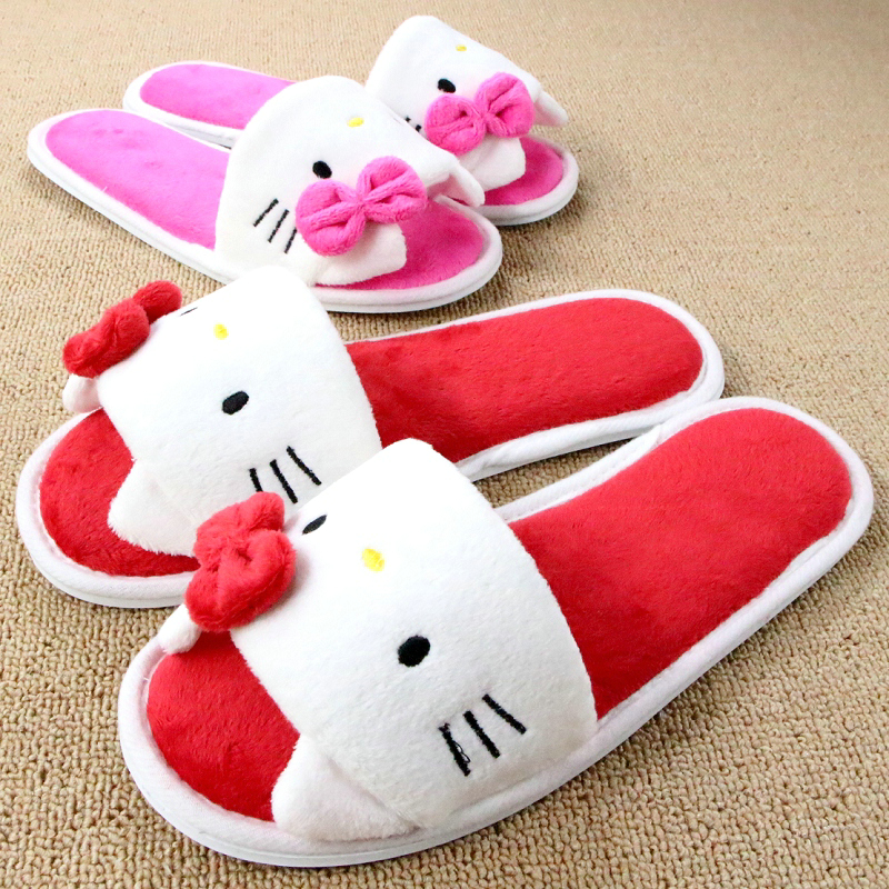 ce7484e5c Soft Plush Bow Hello Kitty Pink Slippers Women Men Shoes Indoor Girl Loafers  Cartoon Pantuflas Pantofole Donna Chinelo Masculino on Aliexpress.com |  Alibaba ...