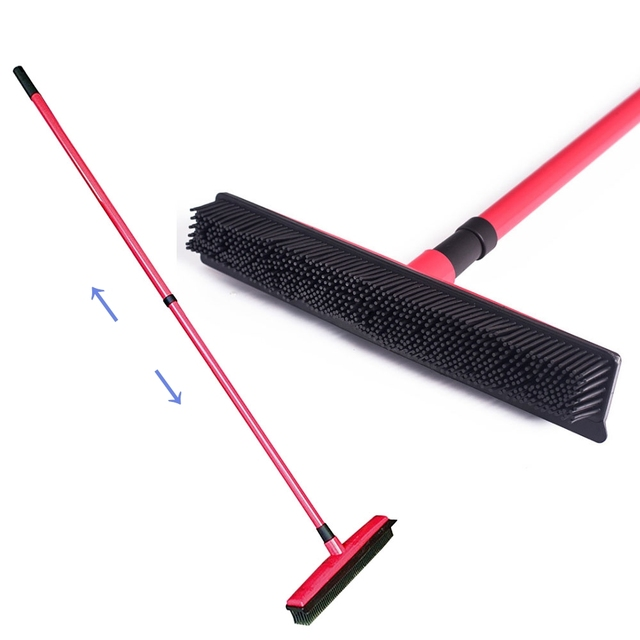 Long Push Magic Broom Sweeper Rubber Besom Pet Hair Removal Telescopic Bristles Sweeper Household Brush Carpet Cleaning Tools