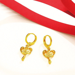 MxGxFam New Designs Heart Drop Earrings Jewelry For Women 24 k Pure Gold color Lead and Nickel Asia Ho't