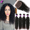 Brazilian Deep Wave With Closure 4 Bundles With Closure Brazilian Virgin Hair Deep Curly With Closure Deep Human Brazilian Hair