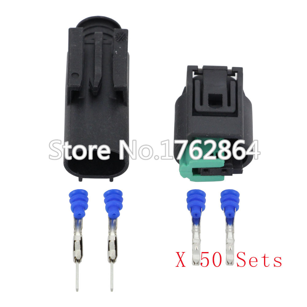50 Set Auto 2 Pin Male Female Wire Connector Engine Coolant Temp Bmw E30 Wiring Harness Connectors Water Temperature Sensor Plug For Buick Dj7021 1 11 21