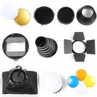 Neewer Pro Speedlite Flash Accessories Kit With Barndoor Conical Snoot Mini Reflector Sphere Diffuser Universal Mount