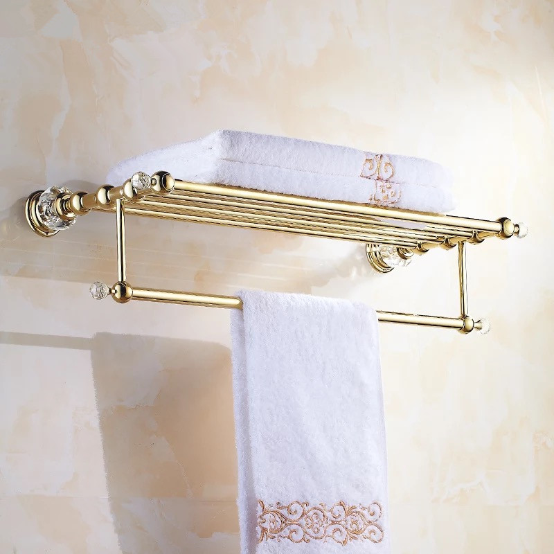 Golden crystal bathroom towel rack bathroom shelf towel holder Double towel rack holder bathroom accessories 2016 high quality brass and crystal bathroom towel rack gold towel holder hotel home bathroom storage rack rail shelf