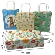 10 Pcs/lot  Cartoon animals printed  kraft paper bag Festival gift bags Paper bags with handles children gift bags 21x13x8cm